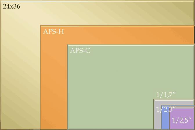 Tableau comparatif de différentes tailles de capteur photo (full frame / APS-C / APS-H / Compact / Bridge